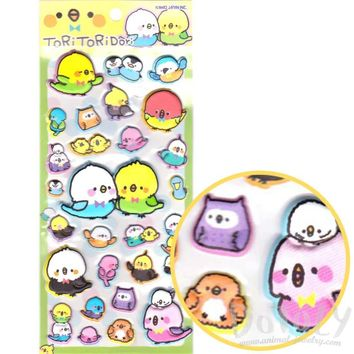 Colorful Parakeet Bird Shaped Animal Themed Puffy Stickers | Cute Stationery Supplies