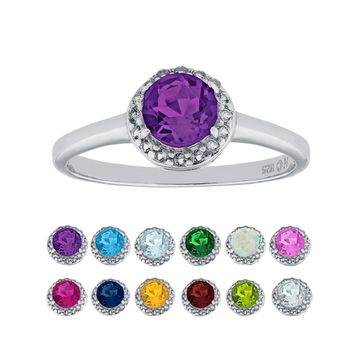 Sterling Silver Round Birthstone and White Topaz Halo Ring