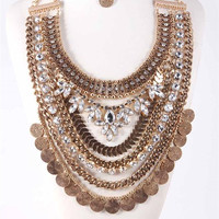 Antique Silver or Gold Tribal Princess Statement Necklace & Earrings SET