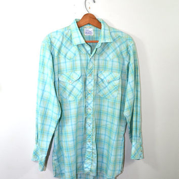 Vintage Western Shirt Plaid Shirt Pearl Snap Shirt Men's Plaid Shirt Green Shirt 70's Western Shirt Sears Westerner Shirt Size Large Tall