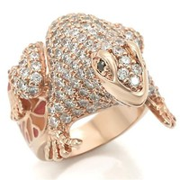 Rose Gold Cubic Zirconia Frog Ring