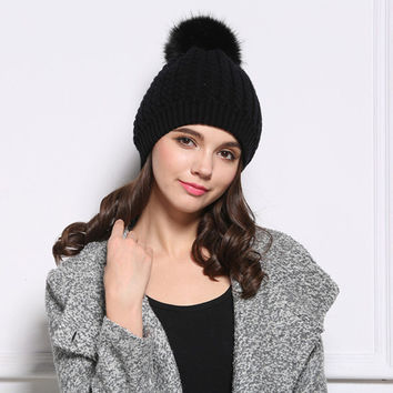 Knitted Ball Pattern Sphere Hat