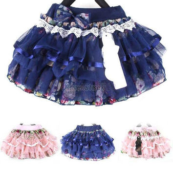 New Baby Mini Short Skirt Chiffon Kid Girls Three Ply Yarn Calico Ruffle Skirt & Drop shipping