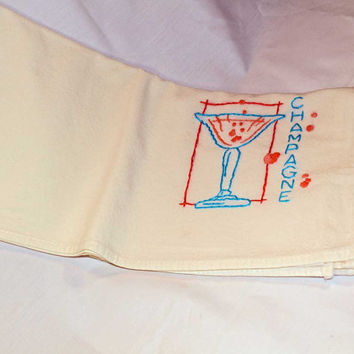 Hand Embroidered Vintage Design Tea Towel or Bar Towel, Champagne Glass with Bubblies