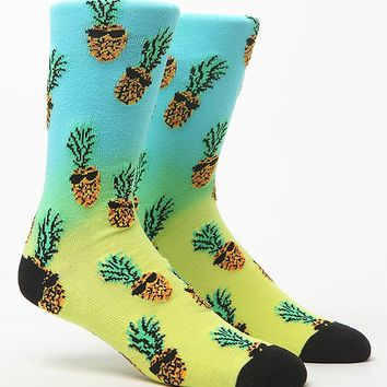 On The Byas Dip Dye Pineapples Crew Socks - Mens Socks - Yellow/Blue - One