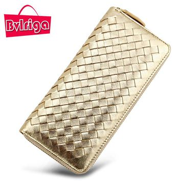 BVLRIGA Brand Luxury Genuine Leather Women Wallet Female Purse Weave Credit Card Holder Gold Clutch Phone Holders Money Bag 2017