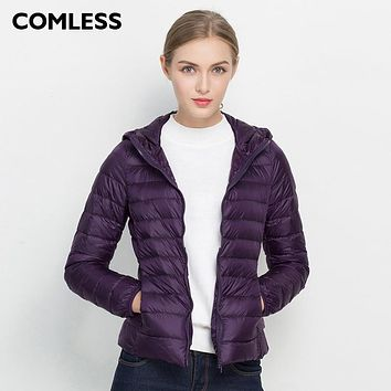 COMLESS 18 Colors Casual Ultralight Down Jacket with 90% Down 10%Feather Women Hoodies Winter White Down Outwear Jacket SizeXXXL