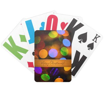 Multicolored Christmas lights. Add text or name. Bicycle Playing Cards