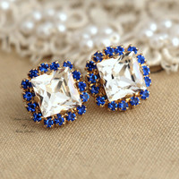 Swarovski Blue Sapphire and clear white Princess cut studs bridal earrings classic stylish jewelry - 14k 1 micron Thick plated gold post .