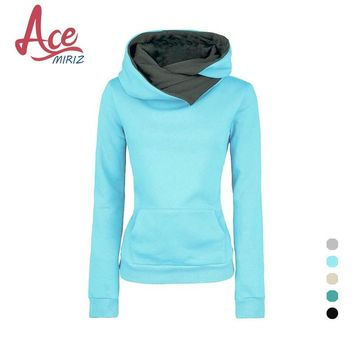 Spring  Autumn Winter Women Casual Solid Hoodies Lapel Hooded  Sweatshirts Pullovers Turn-down Collar WBA0010
