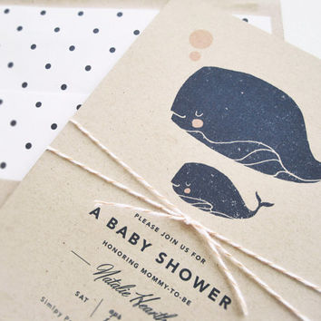 Little Squirt Baby Shower Invitation / Kraft Invitation with Envelope and Whale Illustration by Rachel Marvin Creative