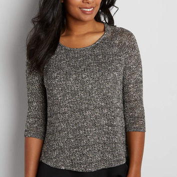 pullover sweater with chiffon hem and metallic shimmer | maurices