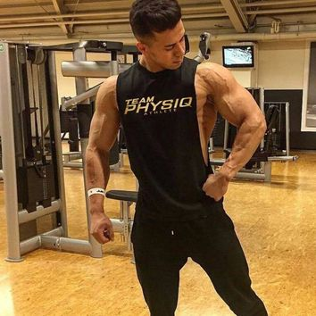 Workout Tank Tops Low Cut Armholes Vest Fitted Tank Men Gym Fitness Tees Muscle Run Activewear Sports T Shirts