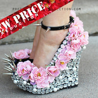 Floral Rhinestone Studded Spike Wedge Shoes 5 1/2 inch heels-sizes 7, 8, 9