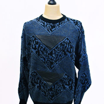 Vintage 1990s AMAZING Leather Patch Blue Sweater Jumper Large Crazy Pattern