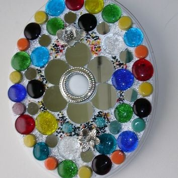 Mosaic Mirror Flower Wall Art on Painted Wood Base