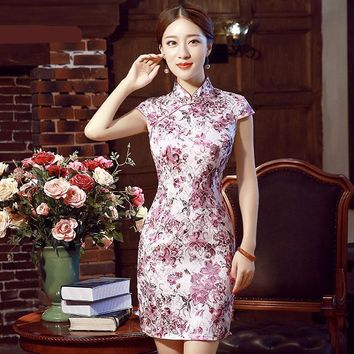 White, Blue, Pink Floral Collection Short Cheongsam One-piece Chinese Qipao Dress
