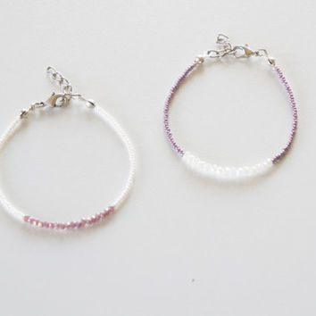 Lilac-White Color Seed Bead Crystal Bracelet, Seed Bead Bracelet, Handmade Bracelet,Swarovski jewelry,Crystal Bracelet,Beaded Bracelet