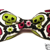 Skull Hair Bow - Dia De Los Muertos - Pastel Goth, Emo Accessories - Sugar Skulls, Big, Fabric - Lime Green, Pink, White - Day of the Dead
