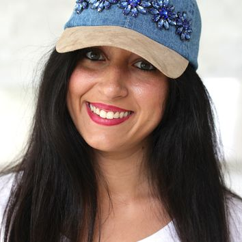 Denim & Suede Rhinestone Hat