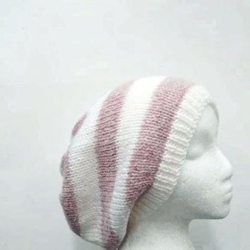 Pink and white stripes oversized beanie slouchy beanie - free shipping   4704