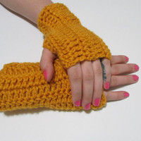 Mustard Yellow Wrist Warmers, Crochet Simple Fingerless Gloves, FREE US SHIPPING, Driving Gloves, Texting Gloves, Christmas Gift
