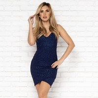 Let's Dance Sparkle Bodycon Dress in Navy