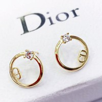 DIOR Newest Stylish Women Simple Diamond Circular Earrings Jewelry Accessories