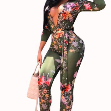 FITTED & FLAUNTING FLORAL JUMPSUIT