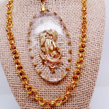 "Vintage Lucite Huge Cameo Virgin Mary Mother Of God Reverse Carved Pendant Necklace Religous Art  36"" Art Nouveau 1940's Easter Statement"