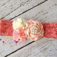 Coral peach trio headband ombré headband  by MyLilSweetieBoutique