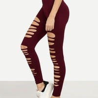 Cut Out Elastic Waist Leggings