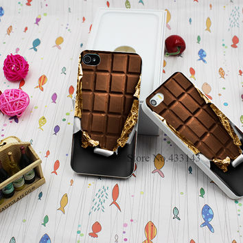 Hard White Case Cover for iPhone 4 4s cover chocolate Style