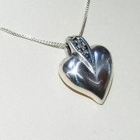 """Large Sterling Silver Puffy Heart With Marcasite Gemstones, 925 Sterling Silver Puffed Heart Pendant, 18"""" Sterling Box Chain, Valentine Gift"""