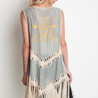 Umgee Women's Crochet Sage Duster