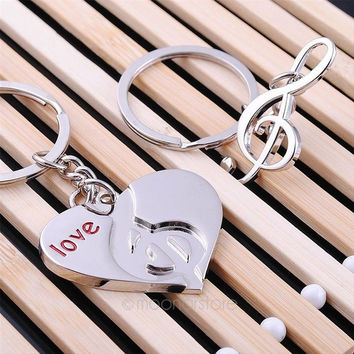 lovers keychain Buckle gift couple key chain ring heart & music Note love = 1929649604