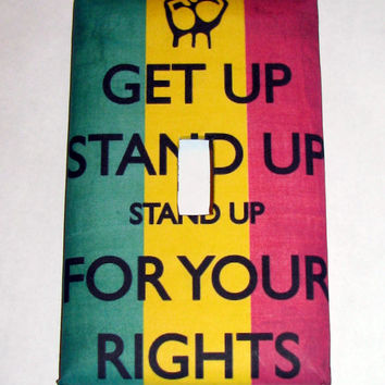 Light Switch Cover - Light Switch Get Up Stand Up Bob Marley Rasta Reggae