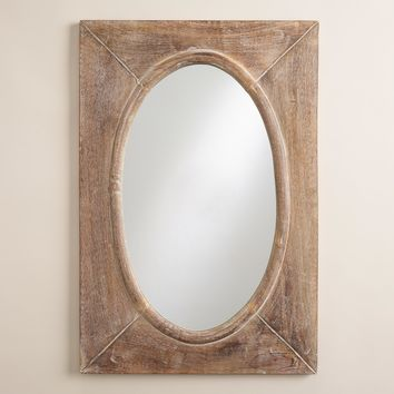 Rustic Wood Shandi Framed Oval Mirror