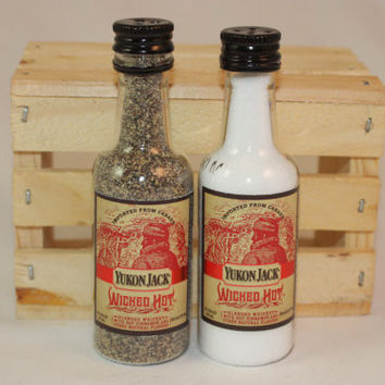 Salt & Pepper Shakers Upcycled from Yukon Jack Wicked Hot Mini Liquor Bottles