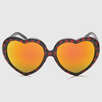 Kiss Kiss Heart Sunglasses - Black