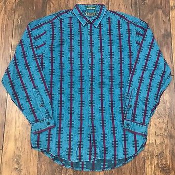 Vintage 90s Levis Teal Magenta Western Style Striped Button Up Shirt Mens Medium