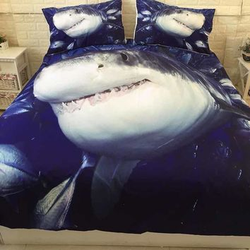 Dropshipping  3D Shark Printed Bed Linen Bedding Sets Comforter Cover  Duvet Cover Set Queen King Size Bedding Double Single