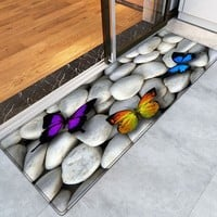 Butterfly On The Stone Pattern Water Absorption Area Rug