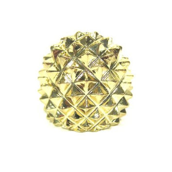 Hedgehog Spike Ring Size 6 Glam Punk Gold Tone Pyramid Stud RH14 Cocktail Statement Fashion Jewelry