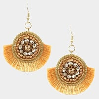Gold Round Multi Beaded Thread Fringe Earrings