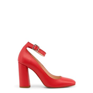 Made In Italia Red Square Toe Ankle Strap Pumps