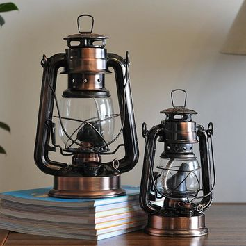 Mediterranean Style Lantern Bronze Oil Lamp furnishing articles Iron hurricane lamp Candle holders