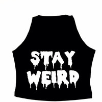 STAY WEIRD DROOLING Grunge Hipster Crop Stretch Tank Crop Top Cropped Small Medium