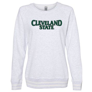 Official NCAA Cleveland State Vikings PPCVU06 Women's Crewneck Sweatshirt with White Striped Edges