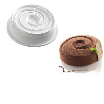 White Vortex Spiral Round Shaped Silicone Baking Freezing Mold For Whirlpool Shaped Muffin, Dessert, Pudding and Jello Non Stick